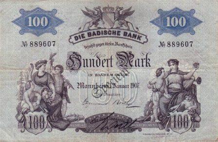 Banknote der Badischen Bank