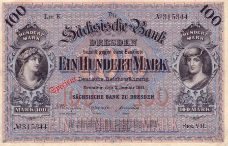Banknote der Sächsischen Bank