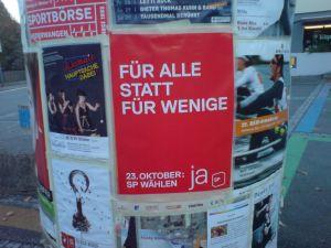 Foto des SP-Plakates im Wahlkampf 2011