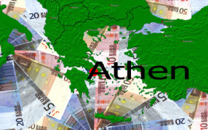 Grafik mit Griechenland und Euronoten