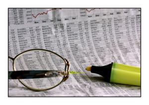 Liste mit Börsenkursen