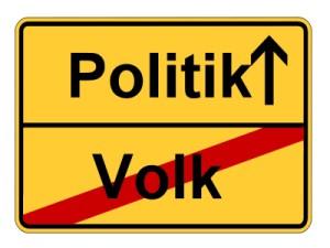 Schild mit Politik und Volk (durchgestrichen)