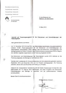 Brief Generalsekretär Bundesversammlung Teuerungsausgleich